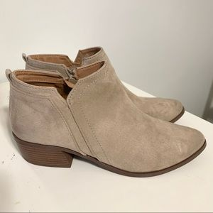 Qupid Tan Faux Suede Ankle Boot